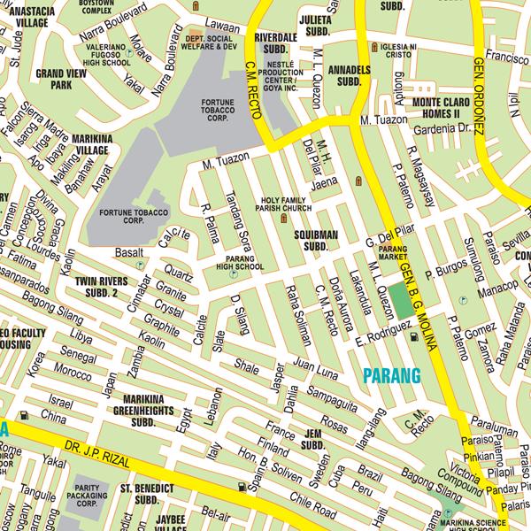 metro manila wall map horizontal